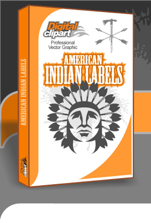 American Indians Labels  - Cuttable vector clipart in EPS and AI formats. Vectorial Clip art for cutting plotters.