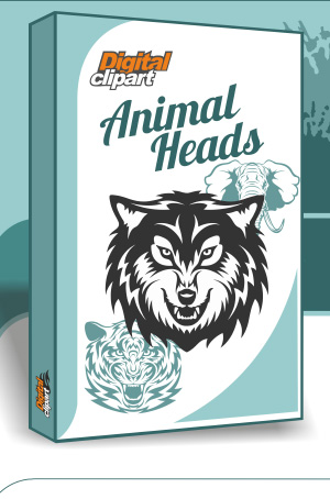 Animal Heads. Cuttable vector clipart in EPS and AI formats. Vectorial Clip art for cutting plotters.