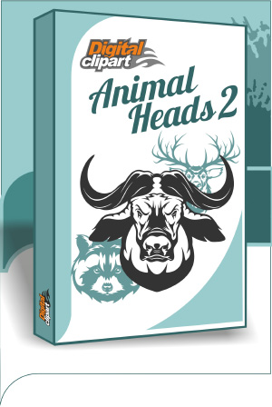 Animal Heads2. Cuttable vector clipart in EPS and AI formats. Vectorial Clip art for cutting plotters.