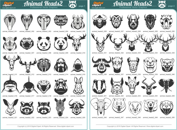 Animal Heads2. PDF - catalog. Cuttable vector clipart in EPS and AI formats. Vectorial Clip art for cutting plotters.