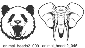 Animal Heads2. Free vector lipart in EPS and AI formats.