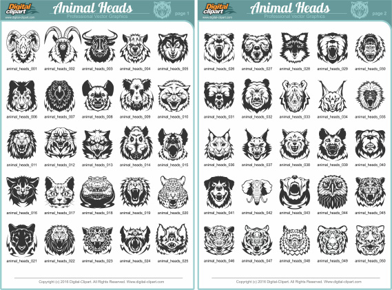 Animal Heads. PDF - catalog. Cuttable vector clipart in EPS and AI formats. Vectorial Clip art for cutting plotters.
