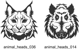 Animal Heads. Free vector lipart in EPS and AI formats.