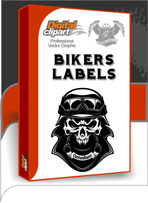 Bikers Labels - Cuttable vector clipart in EPS and AI formats. Vectorial Clip art for cutting plotters.