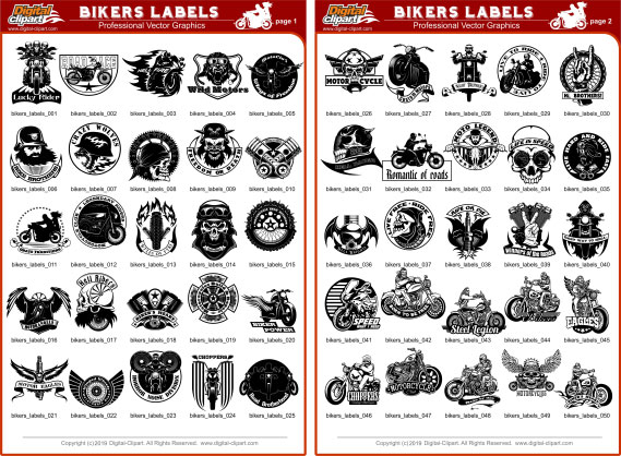 Bikers Labels - PDF - catalog. Cuttable vector clipart in EPS and AI formats. Vectorial Clip art for cutting plotters.