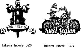 Bikers Labels - Free vector lipart in EPS and AI formats.