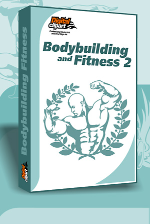 Bodybuilding and Fitness - Cuttable vector clipart in EPS and AI formats. Vectorial Clip art for cutting plotters.