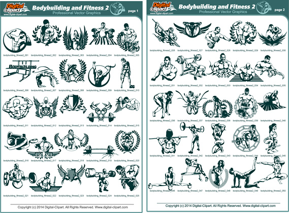 Bodybuilding And Fitness Pdf Catalog Cuttable Vector Clipart In Eps Ai Formats