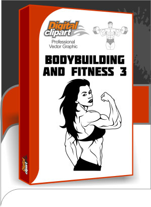 Bodybuilding and Fitness 3 - Cuttable vector clipart in EPS and AI formats. Vectorial Clip art for cutting plotters.