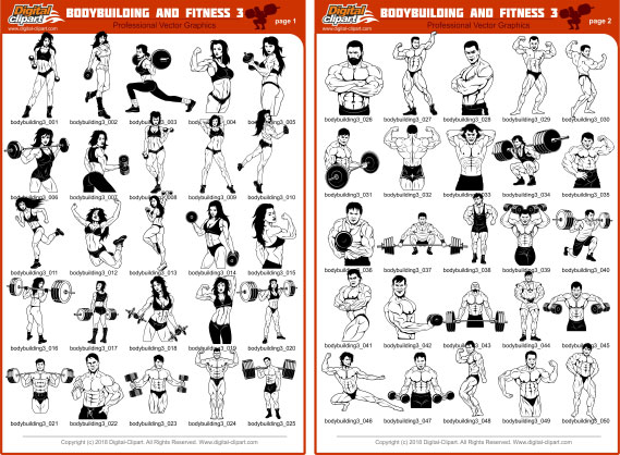 Bodybuilding and Fitness 3 - PDF - catalog. Cuttable vector clipart in EPS and AI formats. Vectorial Clip art for cutting plotters.