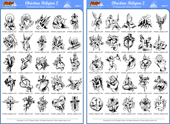Christian Religion 2 - PDF - catalog. Cuttable vector clipart in EPS and AI formats. Vectorial Clip art for cutting plotters.