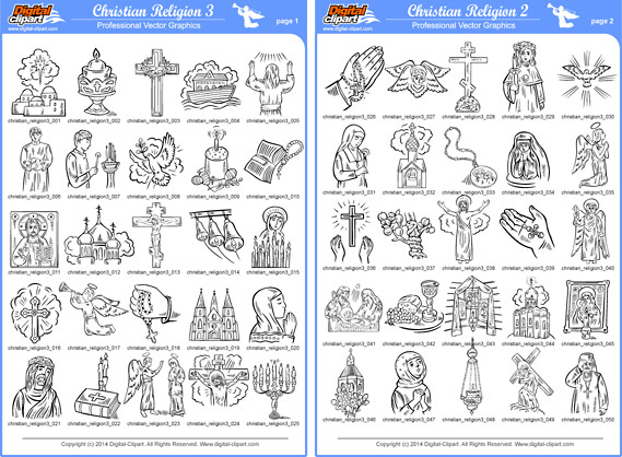Christian Religion 3 - PDF - catalog. Cuttable vector clipart in EPS and AI formats. Vectorial Clip art for cutting plotters.