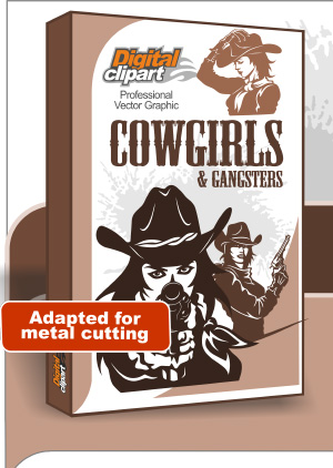 Cowgirls and Gangsters  - Cuttable vector clipart in EPS and AI formats. Vectorial Clip art for cutting plotters.