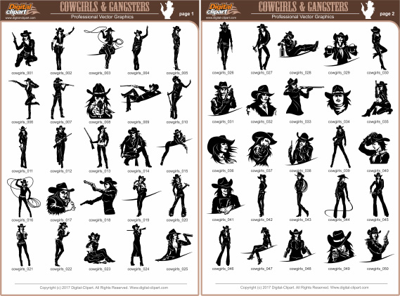 Cowgirls and Gangsters - PDF - catalog. Cuttable vector clipart in EPS and AI formats. Vectorial Clip art for cutting plotters.