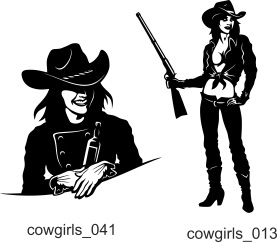 Cowgirls and Gangsters - Free vector lipart in EPS and AI formats.