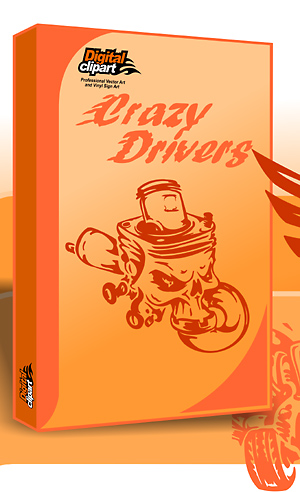 Crazy Drivers - Cuttable vector clipart in EPS and AI formats. Vectorial Clip art for cutting plotters.