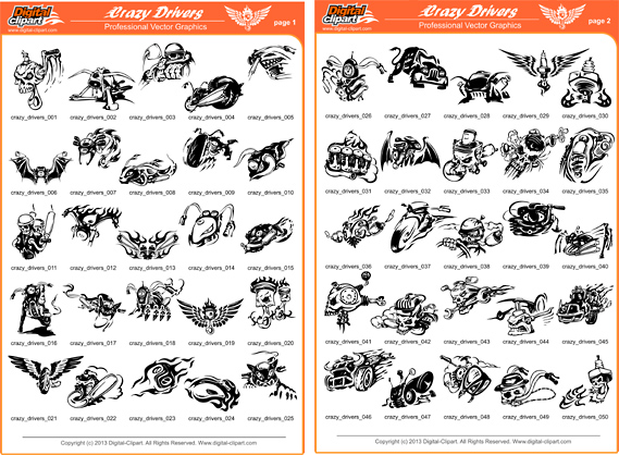 Crazy Drivers - PDF - catalog. Cuttable vector clipart in EPS and AI formats. Vectorial Clip art for cutting plotters.