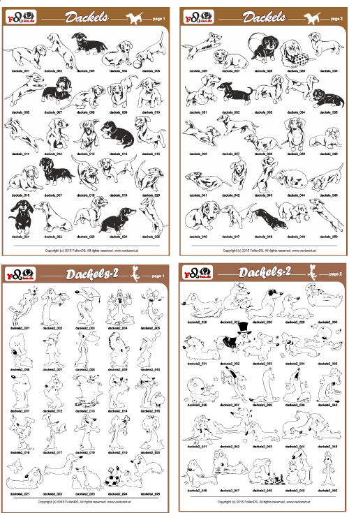 Dachshunds PDF - catalog. Cuttable vector clipart in EPS and AI formats. Vectorial Clip art for cutting plotters.