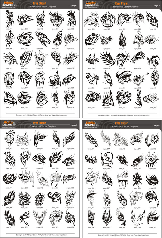 Eyes Clipart  - PDF - catalog. Cuttable vector clipart in EPS and AI formats. Vectorial Clip art for cutting plotters.