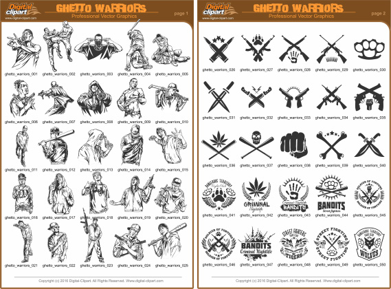 Ghetto Warriors Clipart - PDF - catalog. Cuttable vector clipart in EPS and AI formats. Vectorial Clip art for cutting plotters.