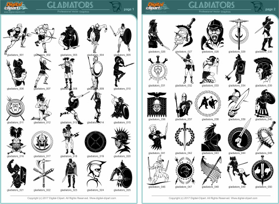 Gladiators Clipart  PDF - catalog. Cuttable vector clipart in EPS and AI formats. Vectorial Clip art for cutting plotters.