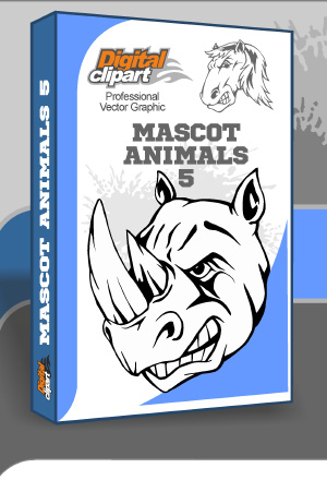 Mascot Animals 5. Cuttable vector clipart in EPS and AI formats. Vectorial Clip art for cutting plotters.
