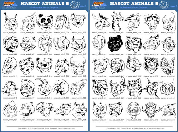 Mascot Animals 5. PDF - catalog. Cuttable vector clipart in EPS and AI formats. Vectorial Clip art for cutting plotters.
