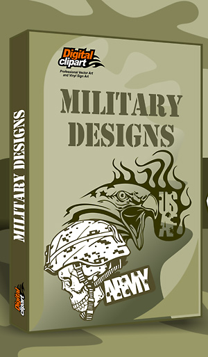 Military Designs - Cuttable vector clipart in EPS and AI formats. Vectorial Clip art for cutting plotters.