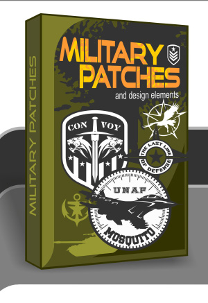 Military Patches - Cuttable vector clipart in EPS and AI formats. Vectorial Clip art for cutting plotters.