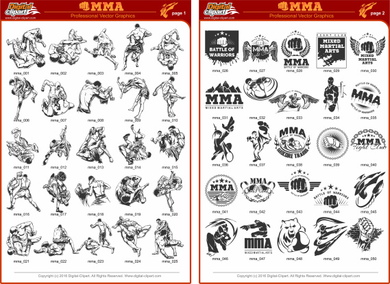 Boxing Clipart - PDF - catalog. Cuttable vector clipart in EPS and AI formats. Vectorial Clip art for cutting plotters.
