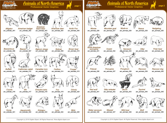 North American Animals - PDF - catalog. Cuttable vector clipart in EPS and AI formats. Vectorial Clip art for cutting plotters.