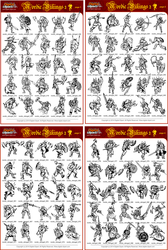 Nordic Vikings 2 - PDF - catalog. Cuttable vector clipart in EPS and AI formats. Vectorial Clip art for cutting plotters.