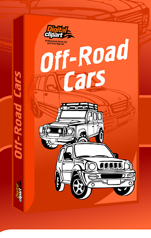 Off-Road cars - Cuttable vector clipart in EPS and AI formats. Vectorial Clip art for cutting plotters.