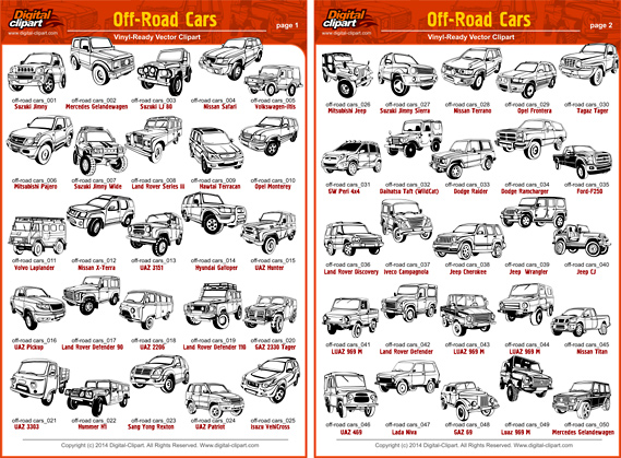 Off-Road cars  -  PDF - catalog. Cuttable vector clipart in EPS and AI formats. Vectorial Clip art for cutting plotters.