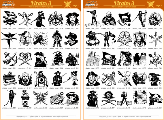 Pirates and Corsairs 2 - PDF - catalog. Cuttable vector clipart in EPS and AI formats. Vectorial Clip art for cutting plotters.