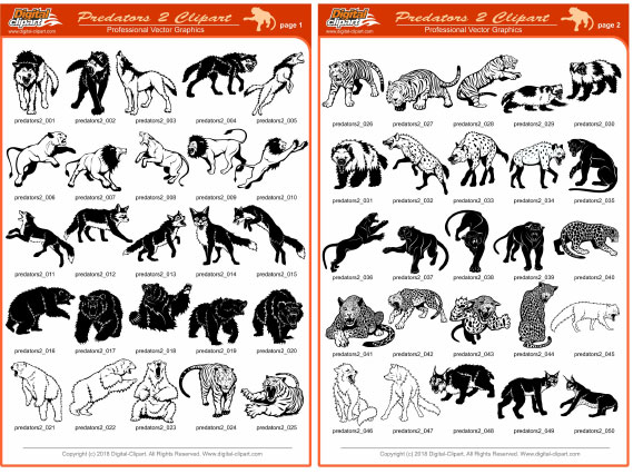 Predators Clipart 2  - PDF - catalog. Cuttable vector clipart in EPS and AI formats. Vectorial Clip art for cutting plotters.
