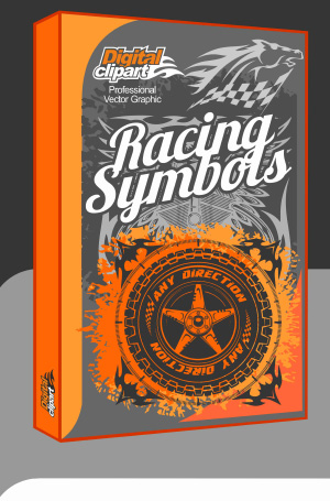 Racing Symbols - Cuttable vector clipart in EPS and AI formats. Vectorial Clip art for cutting plotters.