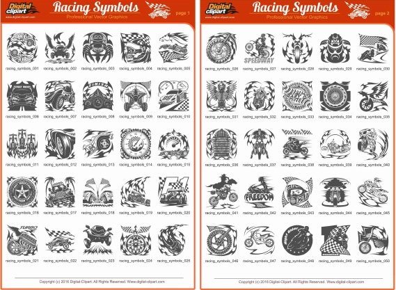 Racing Symbols - PDF - catalog. Cuttable vector clipart in EPS and AI formats. Vectorial Clip art for cutting plotters.