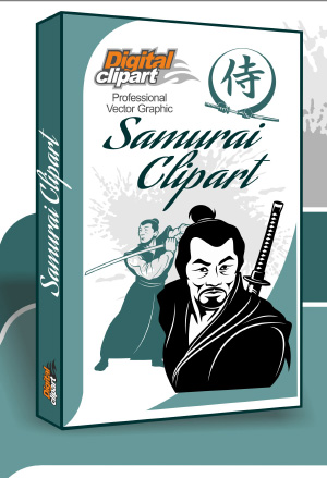 Samurai Clipart - Cuttable vector clipart in EPS and AI formats. Vectorial Clip art for cutting plotters.