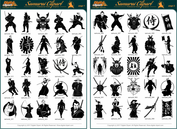 Samurai Clipart. PDF - catalog. Cuttable vector clipart in EPS and AI formats. Vectorial Clip art for cutting plotters.
