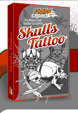 Skulls Tattoo - Cuttable vector clipart in EPS and AI formats. Vectorial Clip art for cutting plotters.