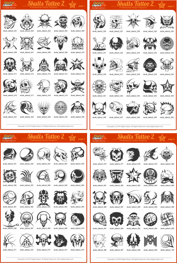 Skulls Tattoo - PDF - catalog. Cuttable vector clipart in EPS and AI formats. Vectorial Clip art for cutting plotters.