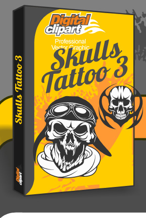 Skulls Tattoo 3 - Cuttable vector clipart in EPS and AI formats. Vectorial Clip art for cutting plotters.