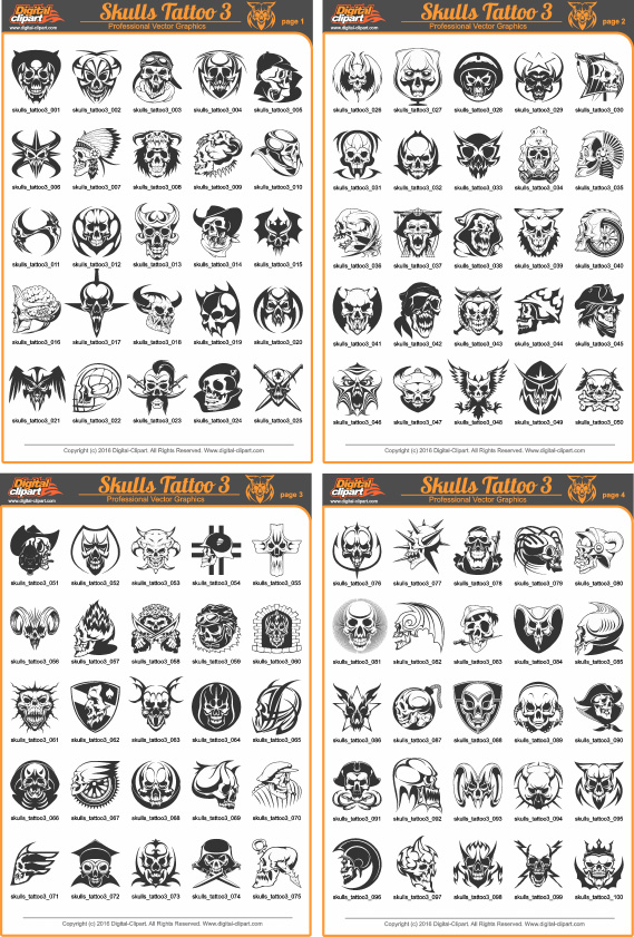 Skulls Tattoo 3 - PDF - catalog. Cuttable vector clipart in EPS and AI formats. Vectorial Clip art for cutting plotters.