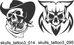 Skulls Tattoo 3 - Free vector lipart in EPS and AI formats.