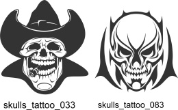 Skulls Tattoo - Free vector lipart in EPS and AI formats.