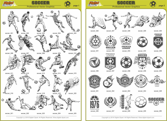 Soccer Clipart - PDF - catalog. Cuttable vector clipart in EPS and AI formats. Vectorial Clip art for cutting plotters.