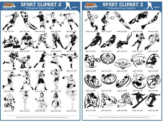 Sport Clipart 2  - PDF - catalog. Cuttable vector clipart in EPS and AI formats. Vectorial Clip art for cutting plotters.