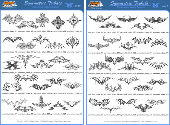 Symmetric Tribals Clipart - PDF - catalog. Cuttable vector clipart in EPS and AI formats. Vectorial Clip art for cutting plotters.