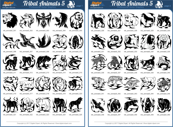Tribal Animals 4 - PDF - catalog. Cuttable vector clipart in EPS and AI formats. Vectorial Clip art for cutting plotters.